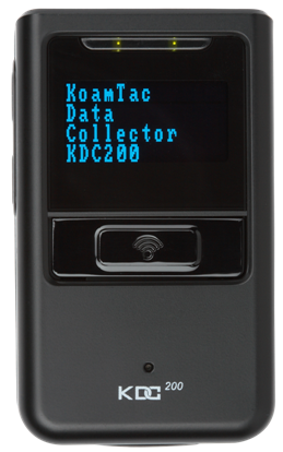 Image of the KDC200i as it appears when placed with the large 'scan' button facing upwards