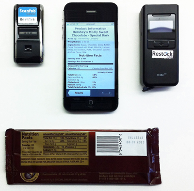 Images of the Scanfob 2002 and KDC300 bluetooth-connected laser scanners and iPhone. A chocolate bar is shown for scale