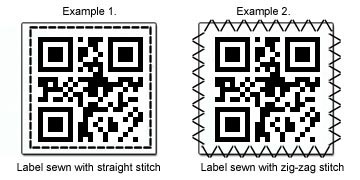 Image showing how to sew the labels with straight stitch or zig-zag stitch