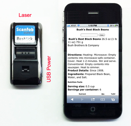 Scanfob 2002 laser scanner shown with an iPhone.   The laser end of the Scanfob is at the top of the image