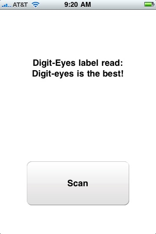This screen is shown when a text label is scanned; there is the result of the scan and a single 'scan' button.