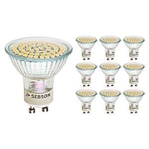 image of Sebson Pack of 10 Gu10 Led 3.5 W Light Bulb Eek A+ Similar To 35 W Halogen - 300 Lumens - Gu10 Led Warm White - Led Light Source 110° - 230 V