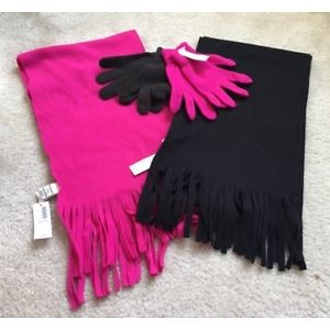 image of 2 Old Navy Scarves Pink & Black & 2 Pairs of Gloves Black & Pink